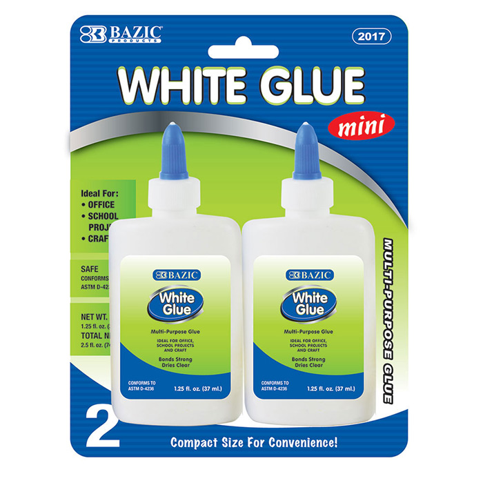 BAZIC 1.25 Oz. (37mL) White Glue (2/Pack), Box of 24