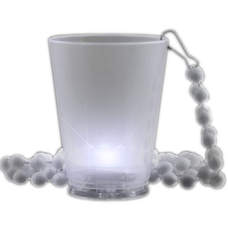 Light Up White Shot Glass On White Beaded Necklaces Shot Glass Beads