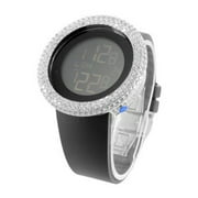 White Gold Tone Watch Men Black Silicone Band Lab Created Cubic Zirconia Bezel Joe Rodeo Jojino