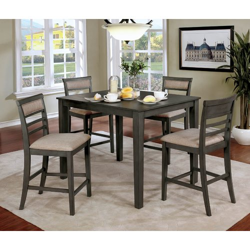 Red Barrel Studio Hansford Wooden 5 Piece Counter Height Dining Table Set
