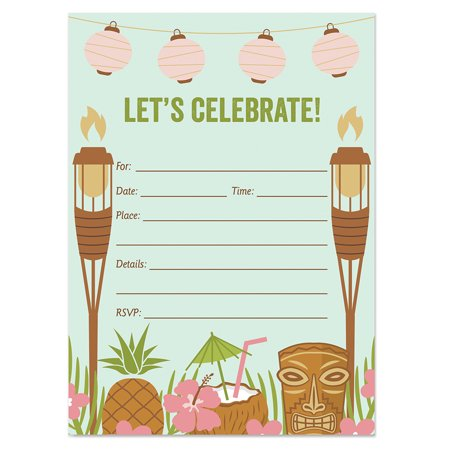25 Luau Tiki Invitations with Envelopes ( Pack of 25 ) Fill In Summer Party Invites, BBQ, Cookout, Rehearsal Dinner, Baby Shower, Graduation, Birthday Party Excellent Value VI0021B - Luau Bbq Ideas