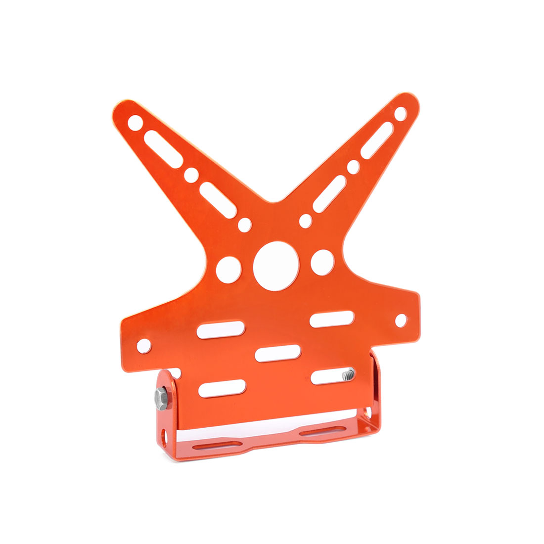 Unique Bargains Motorbike Aluminum Alloy Swallow Tail Shaped License Plate Bracket Holder Orange