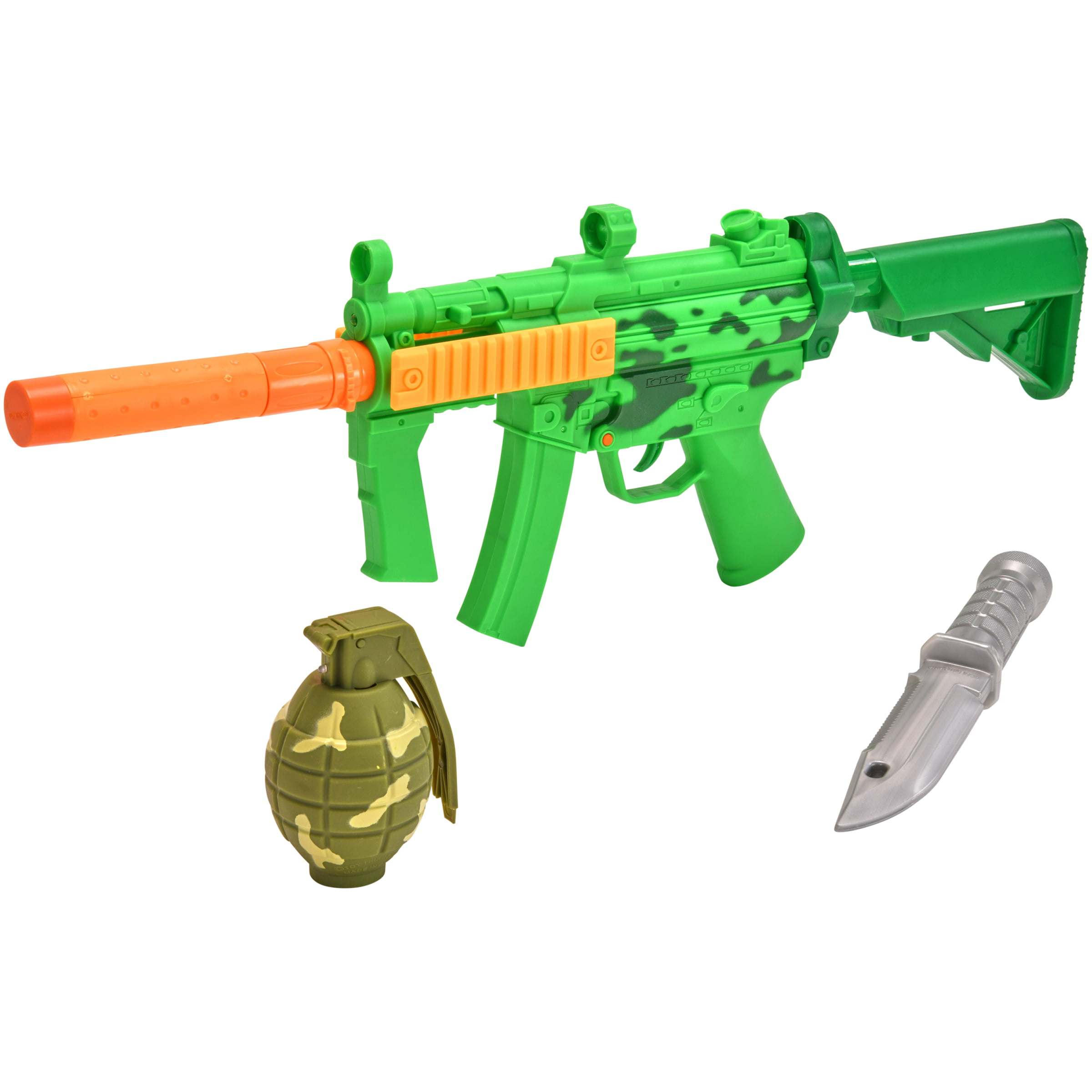 Role Pack of 3 Kids Army Toy GREEN Hand Grenades With Flashing Light /& sound