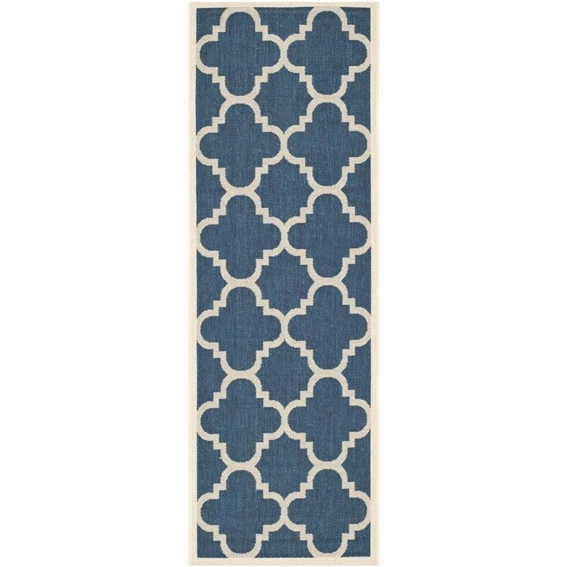 "Safavieh Courtyard Navy Indoor Outdoor Rug - Runner 2'3"" x 12' - image 1 de 1"