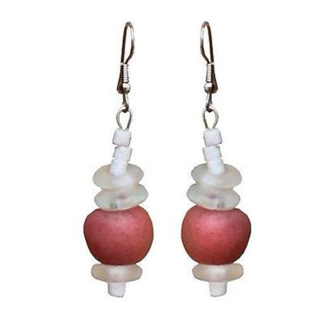 Recycled Pink Poppy Glass Abacus Earrings