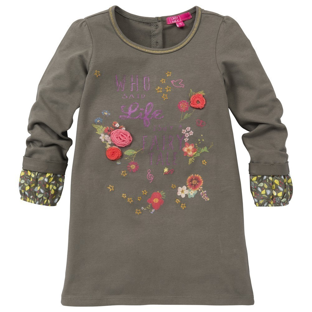CakeWalk Little Girls Tan Kiris Long Sleeve Dress 2Y