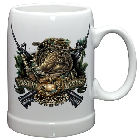 German Beer Stein – US Marine Corps Gifts for Men or Women – Marine Devil Dog First In Last Out Stoneware Beer Stein – USMC Beer Glasses with Logo - Set of 2 (20 Ounces) 2 Old Germany Stein