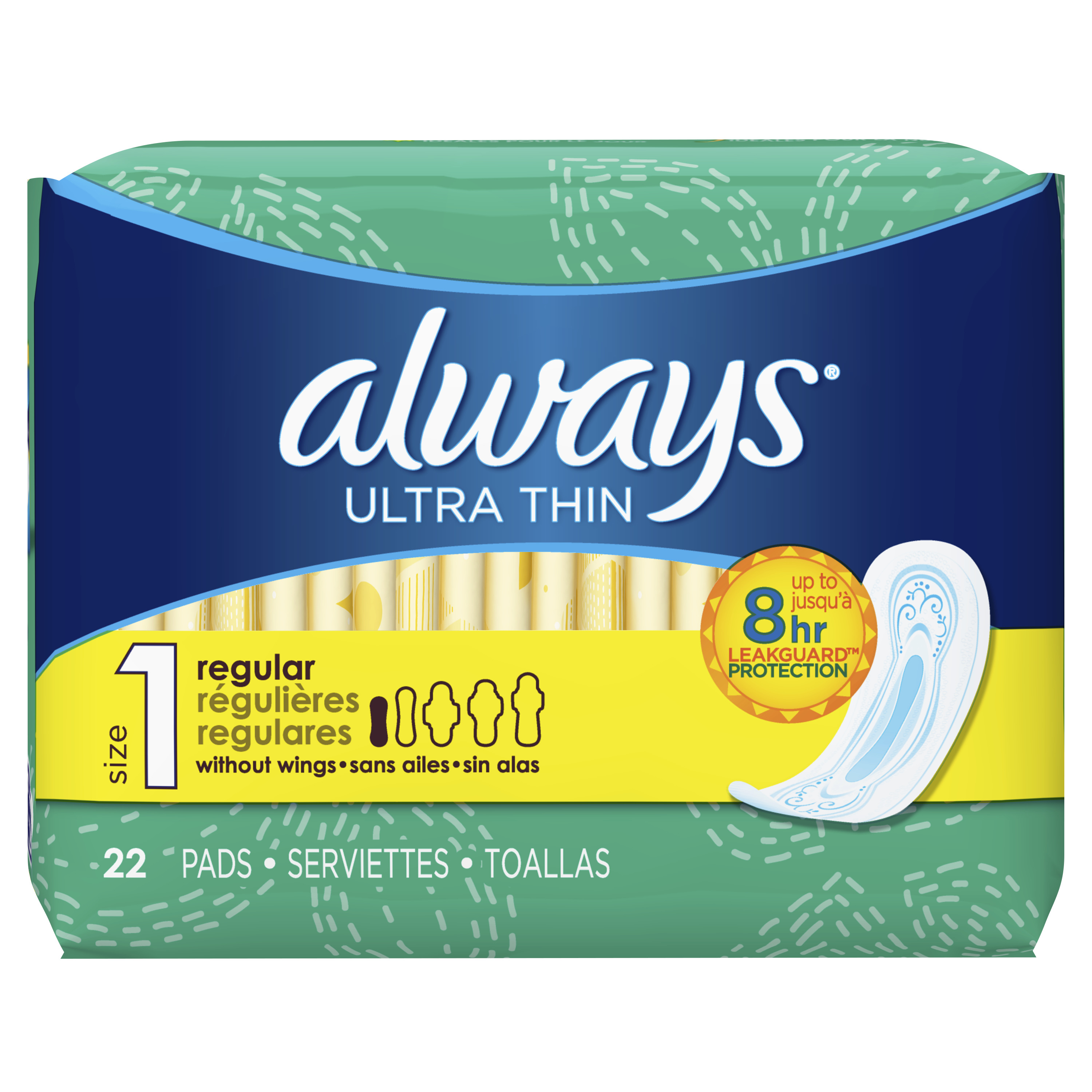Always Ultra Thin, Size 1, Regular Pads, Unscented 22 Count