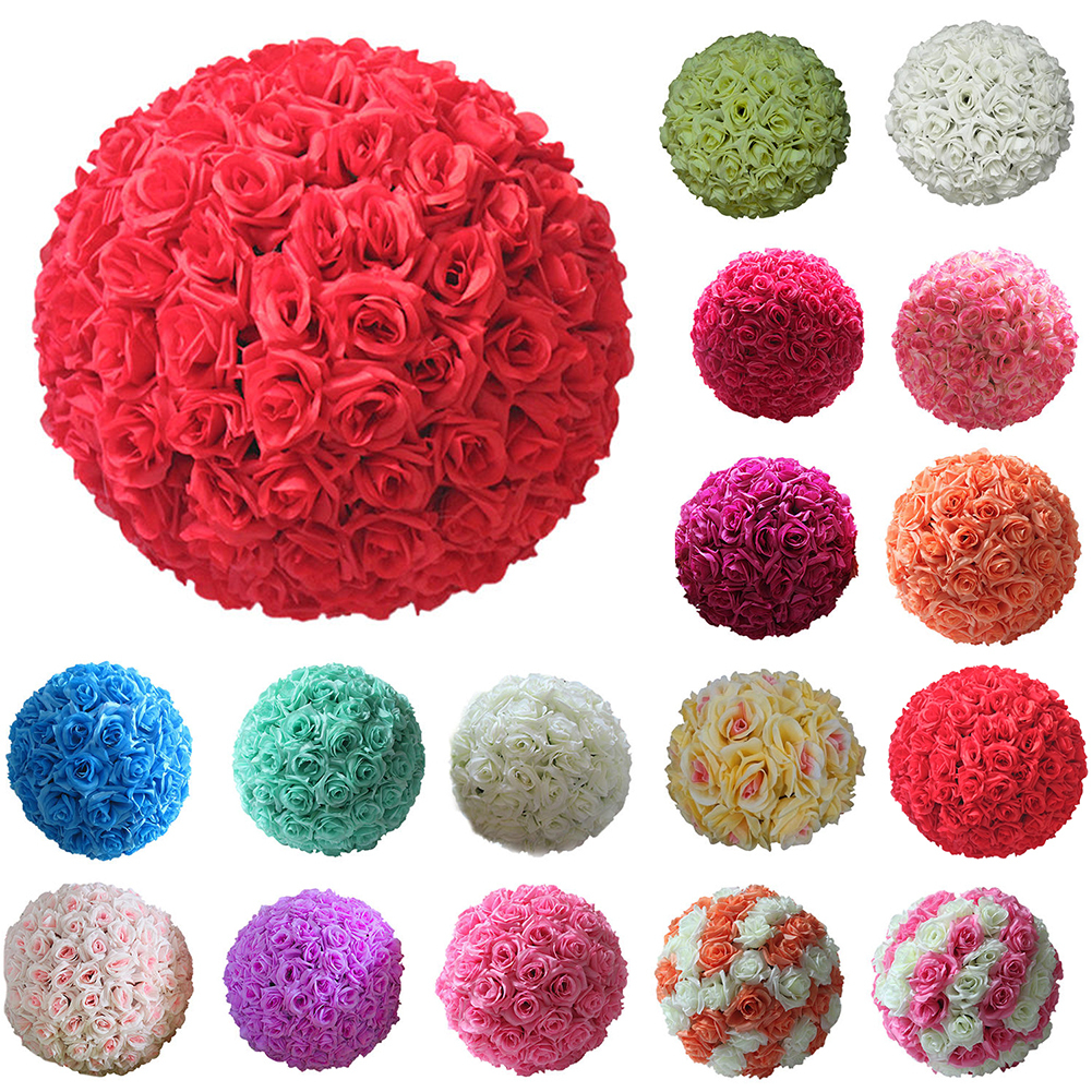 Micelec 8 Inch Wedding Artificial Rose Silk Flower Ball Hanging Decoration Centerpiece