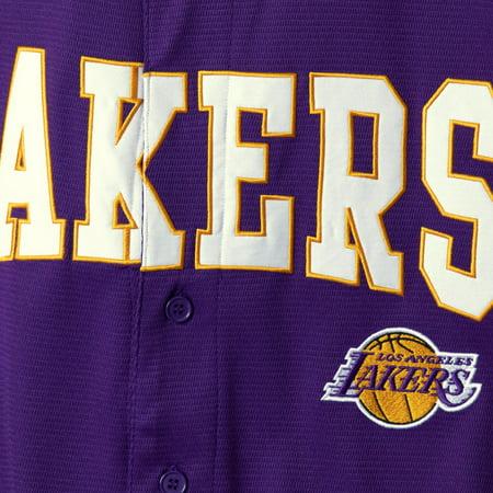 5ac78a7e3abf Los Angeles Lakers Starter Playmaker Baseball Jersey Shirt - Purple Image 5  of 5