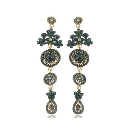 - Asia Ethnic Tribal Design Fashion Crystal Rhinestone Flower Dangle Drop Earrings