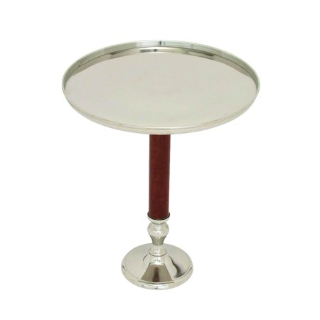 Accent Table Large Round Tray Top Short Leather Column Home Decor 27752 ()