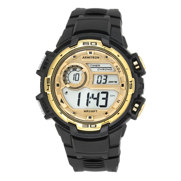 Armitron Unisex Sport Gold Black Round Watch
