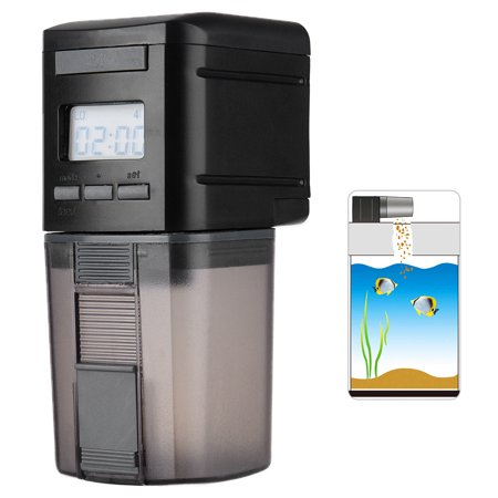 Automatic Fish Feeder Programmable Fish Food Dispenser Multi-Functional Fish Food Timer with LCD Display Screen and USB Charging Port, 175mL Capacity, Black
