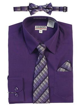 a1a1a769b8cc Product Image Gioberti Little Boys Dark Purple Tie Bow Tie Pocket Dress Shirt  4 Pc Set