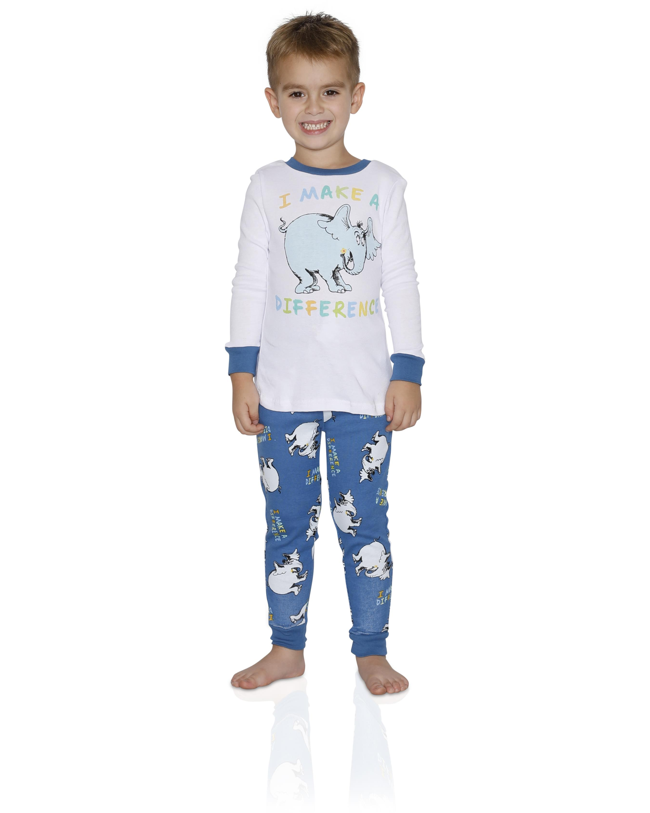 Dr. Seuss Boys Tight Fit Cotton Pajama 2 Piece Sleepwear Set, I Make a Difference, Size: Medium 8