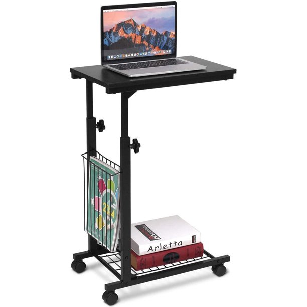 Adjustable Height Standing Desk With Storage Basket - Mobile End Side Sofa Laptop Table, 22''- 30'' Height Adjustable