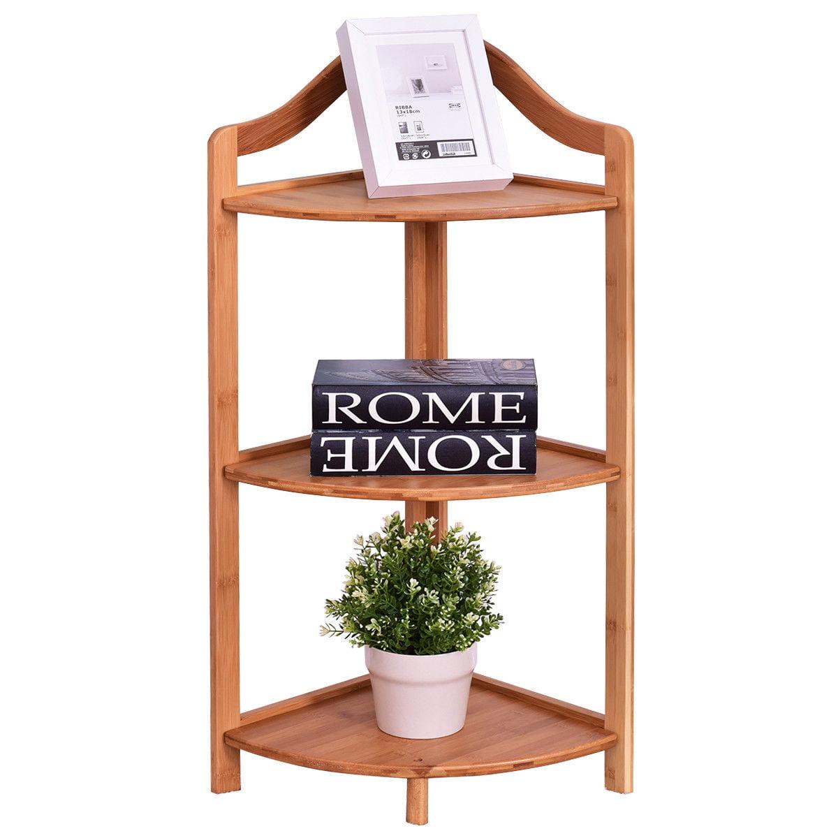 3 Tier Bamboo Free Standing Corner Rack Tower Organizer Shelving Shelf Storage