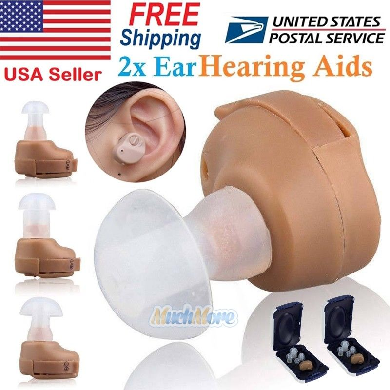 2 x Small In Ear Hearing Aids Adjustable Tone Invisible Best Sound Amplifier Aid