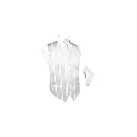 78bf042fbd1d White Striped Satin Tuxedo Vest with Long Tie and Pocket Square Set ...