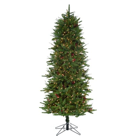 Fraser Hill Farm 6.5-Ft Evergreen Berry Green Prelit Slim Christmas Tree with Pinecones, Berries and EZ Connect Clear Smart Lights ()