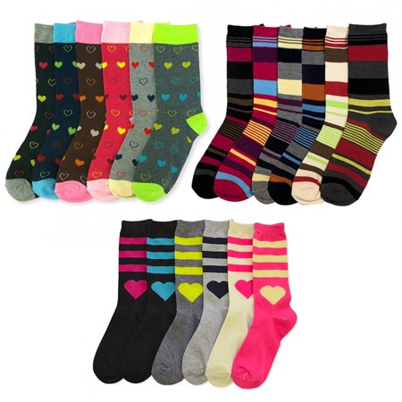 Rugby Stripe Socks (6 Pairs Womens Fashion Crew Socks Pattern Stripes Hearts Casual Size 9-11)