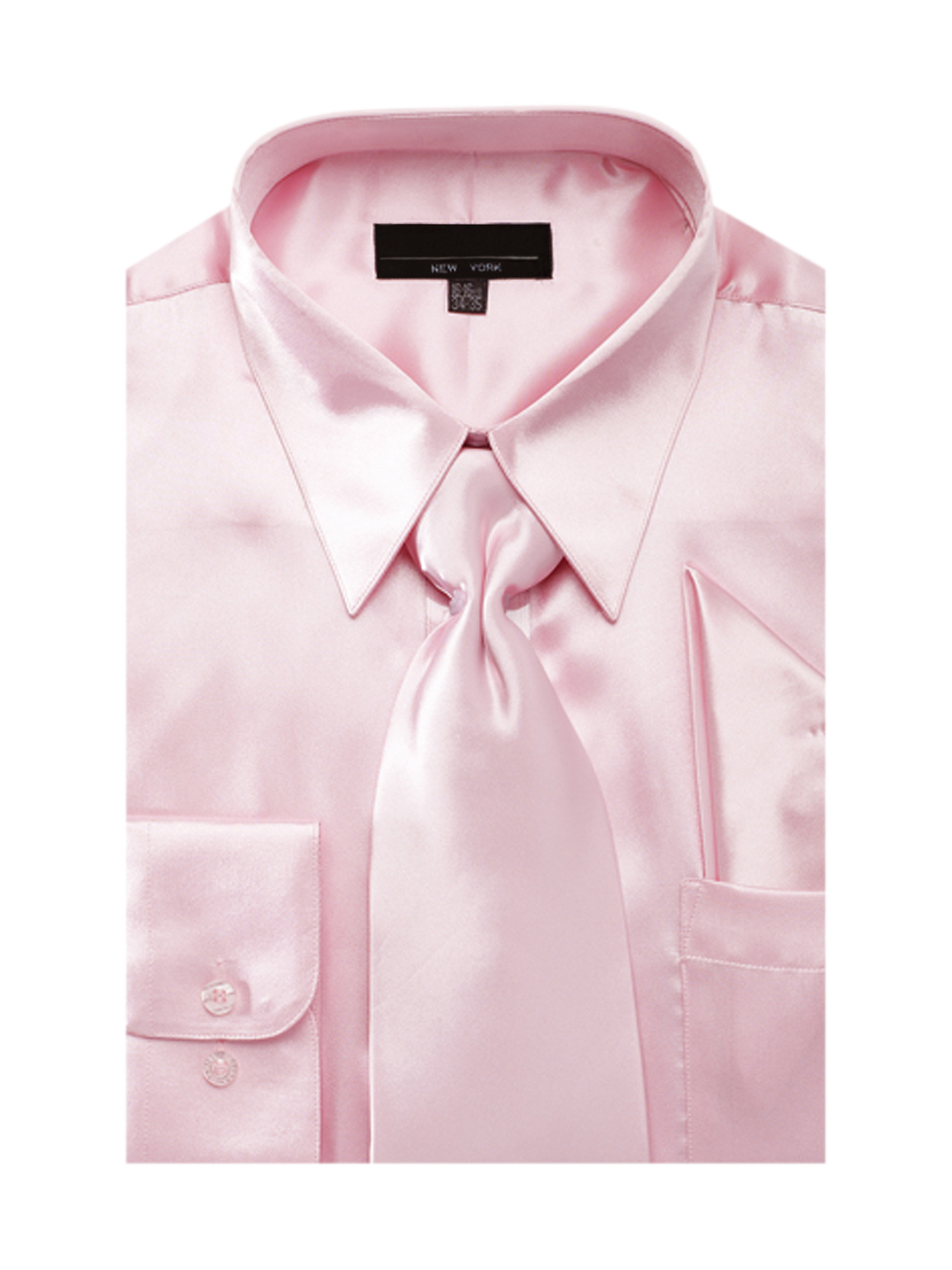 Men S Solid Color Satin Dress Shirt Tie And Hanky Set