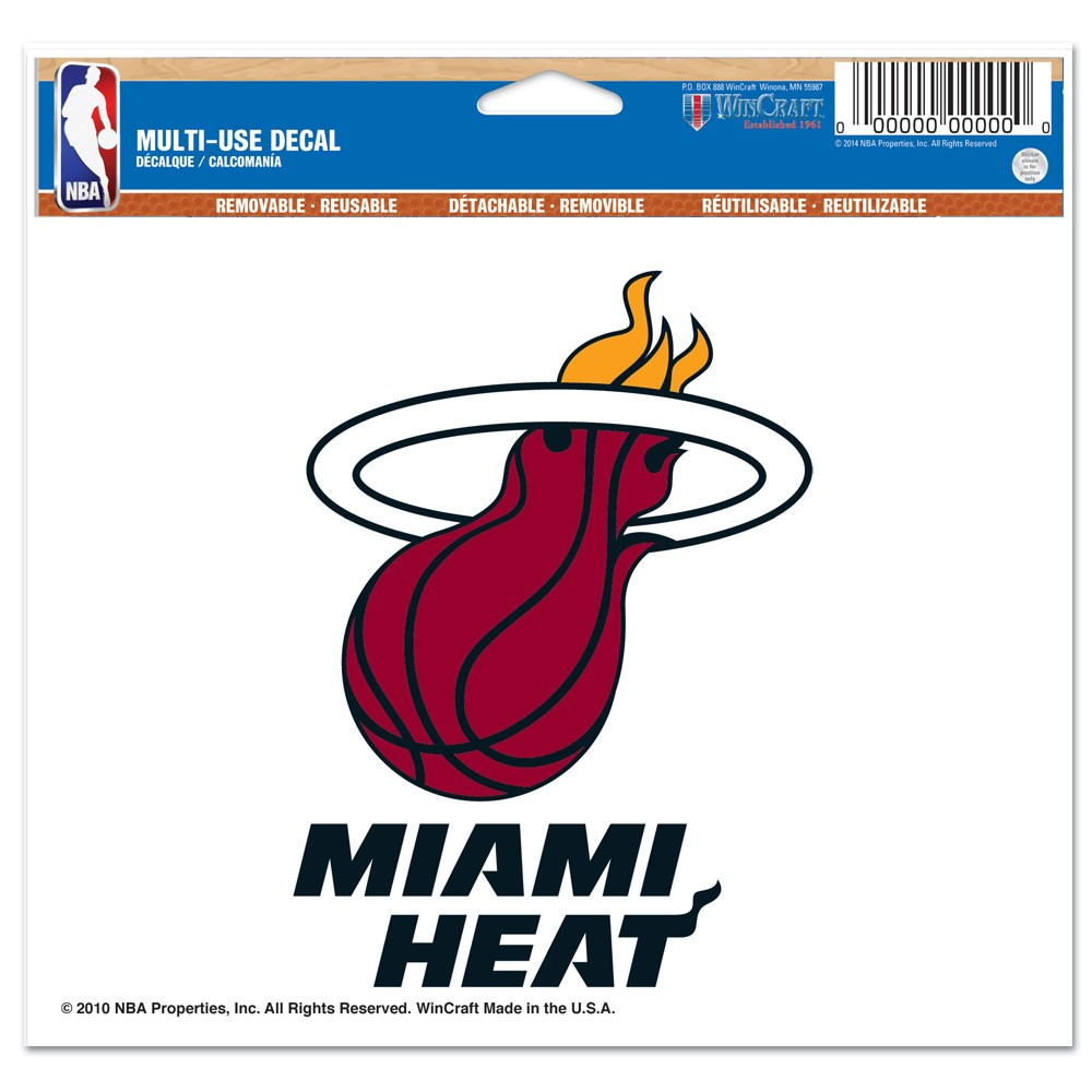 Miami Heat Official NBA 4 inch x 6 inch  Car Window Cling Decal by Wincraft