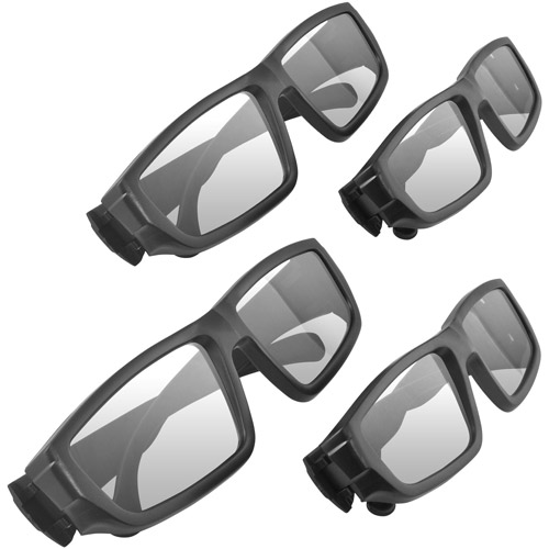 Ematic 3D Glasses Family Pack with 2 Adult Glasses and 2 Child Glasses