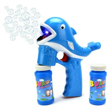 Fun Cartoon Whale Battery Operated Toy Bubble Blowing Gun w/ Light, Music, 2 Bottles of Bubble Liquid (Blue) - Bubble Bottle