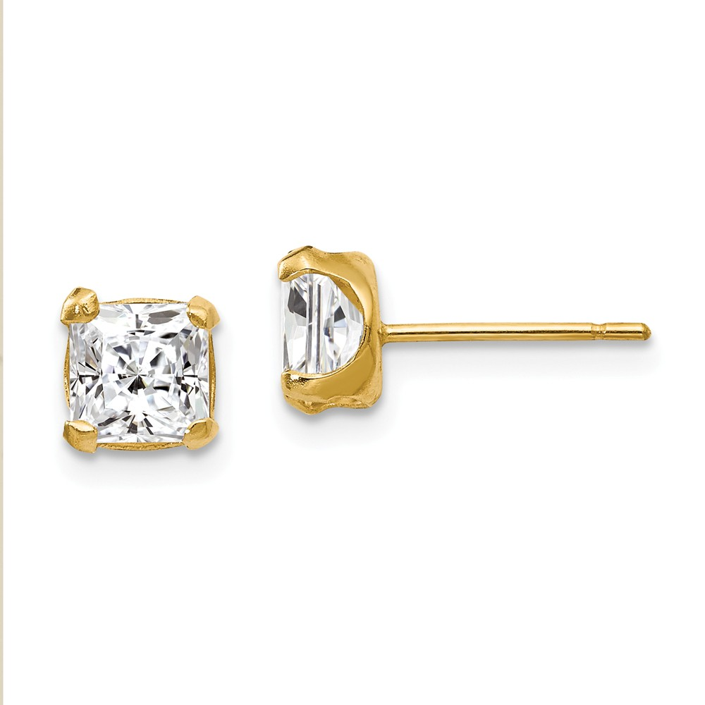 14k Yellow Gold Childs 5mm Square CZ Post Earrings w/ Gift Box