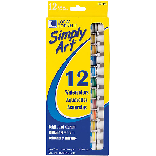 Simply Art Watercolor Paint, 12ml, Assorted Colors, 12/pkg
