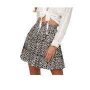 Women Floral Leopard Ruffle High Waist Lace Up Skirts