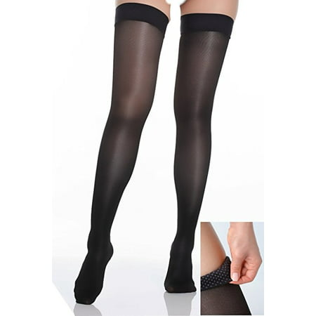 BriteLeafs Sheer Compression Stockings Thigh High Firm Support 20-30 mmHg, Stay-Up Scilicone band, Closed Toe - Small,