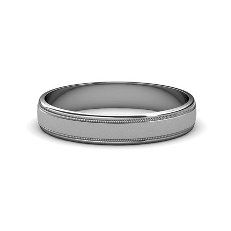 Glass Finish 4mm Milgrain Wedding Band in 14K White Gold.Size 4.75