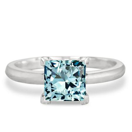 1 Carat Princess Cut Aquamarine Solitaire Engagement Ring in 10k White Gold
