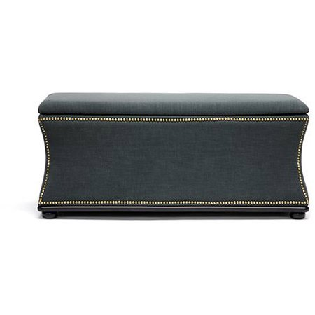 Liverpool Linen Modern Storage Ottoman and Bench