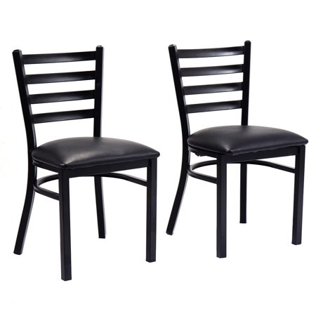 2 Black Dining Chairs - Costway Set of 2 Metal Dining Chairs Upholstered Home Kitchen Side Chair Furniture