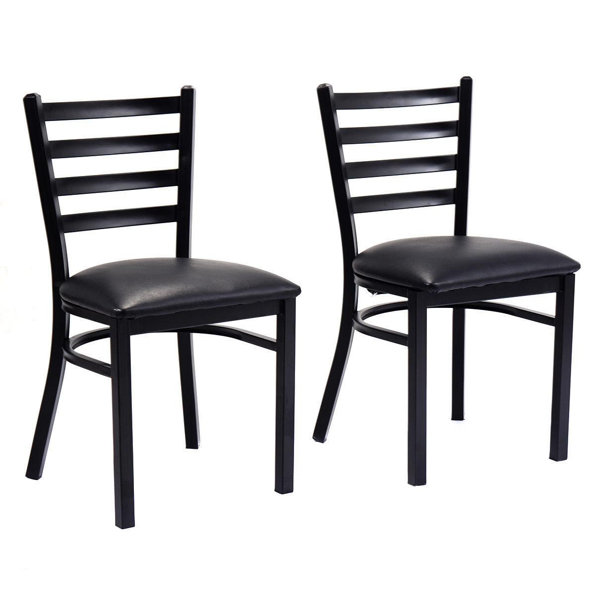 Costway Set of 2 Metal Dining Chairs Upholstered Home Kitchen Side Chair Furniture