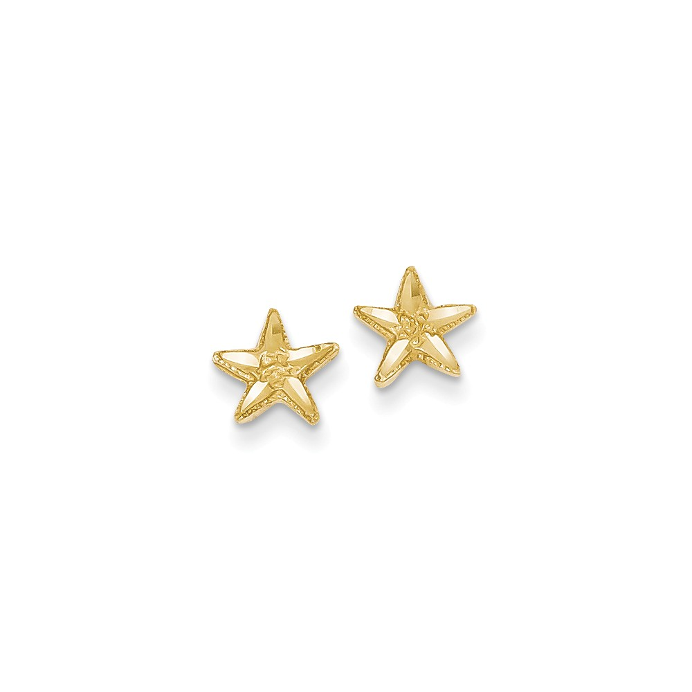 14k Yellow Gold D/C Starfish Post Earrings (8MM)