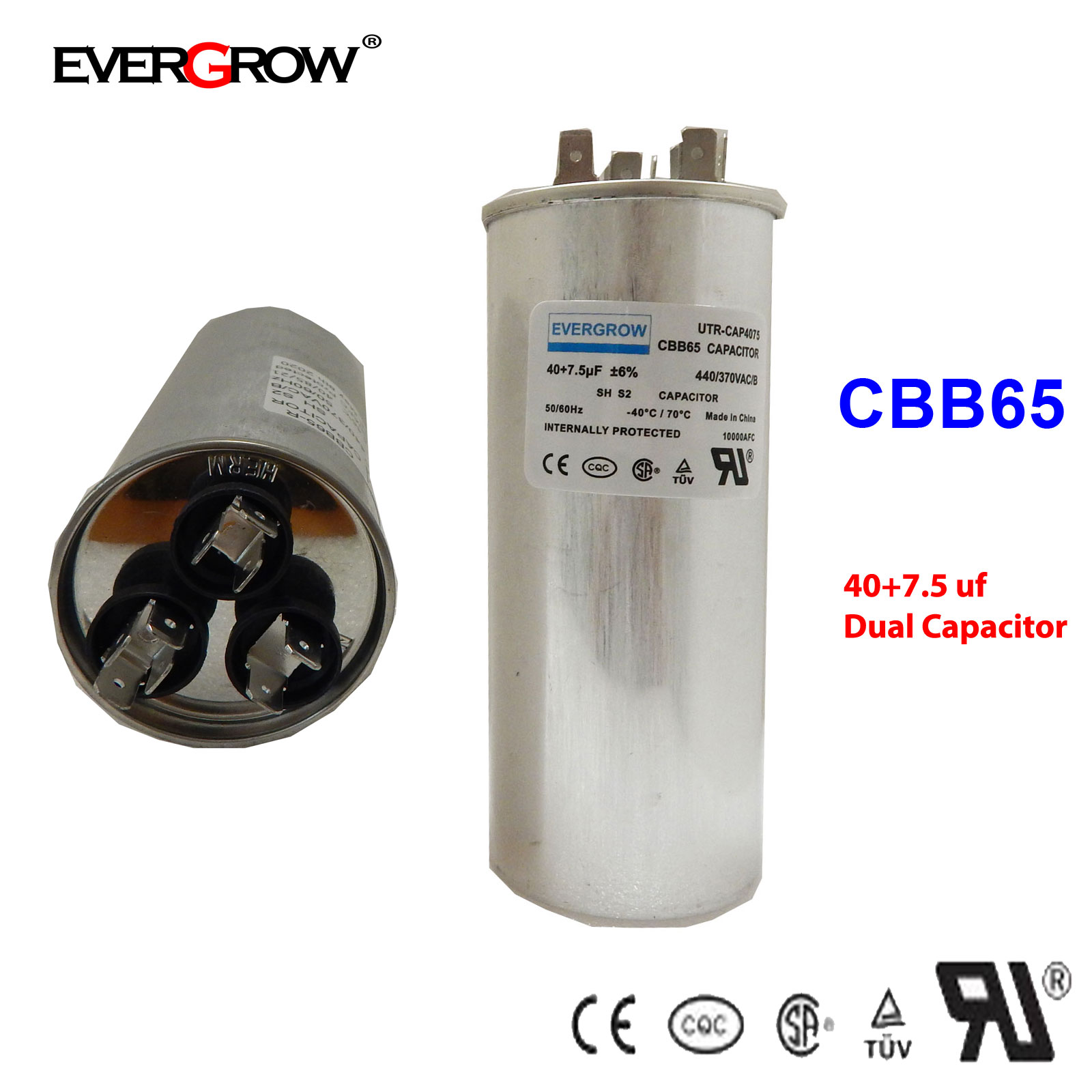 45+7.5 uF MFD Motor Dual Run Capacitor for Carrier Goodman Air Conditioner UL CE