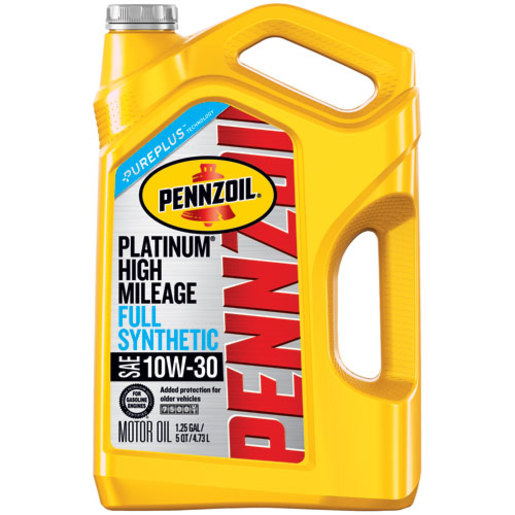 Pennzoil Platinum High-Mileage 10W-30 Full Synthetic Motor Oil, 5 qt