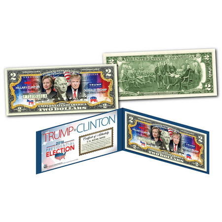 2016 PRESIDENT - DONALD TRUMP vs HILLARY CLINTON Combo U.S. Legal Tender $2 Bill