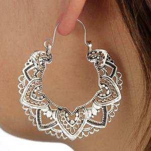 Fancyleo Indian Styles Tribal Brass Hoop EarringEnamel Vintage Boho Earrings Women