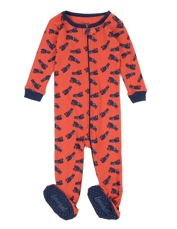 Leveret Kids Pajamas Baby Boys Girls Footed Pajamas Sleeper 100% Cotton (Truck, Size 4 Toddler)