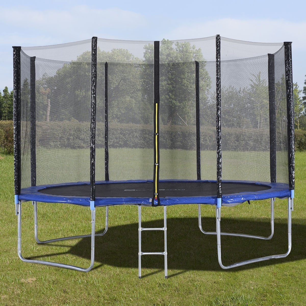 12 ft Trampoline Combo w/ Safety Enclosure Net, Spring Pad & Ladder