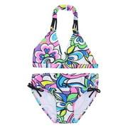 Multi Color Floral Print Halter Bra Underwear 2 Piece Swimsuit 7-16