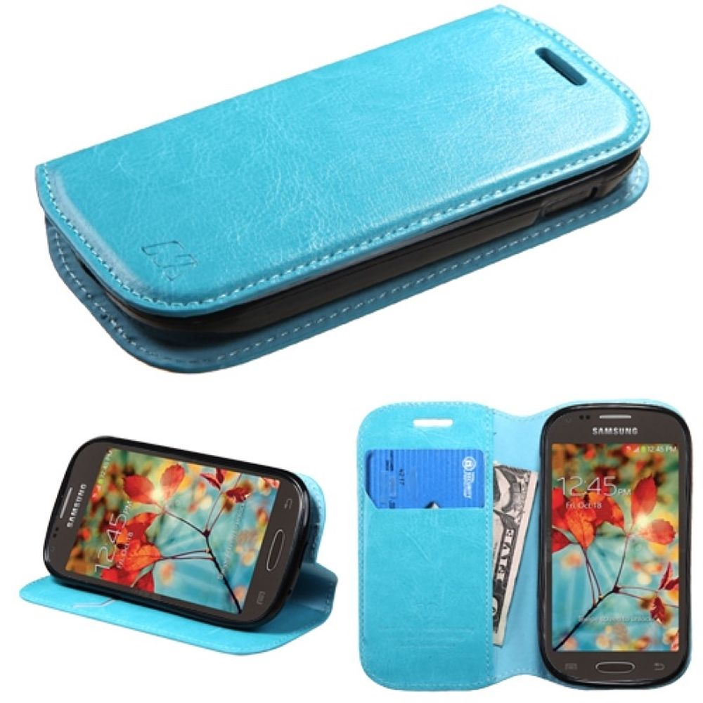 Insten Folio Leather Wallet Case Cover with Card slot For Samsung Galaxy Light - Blue - image 3 of 3