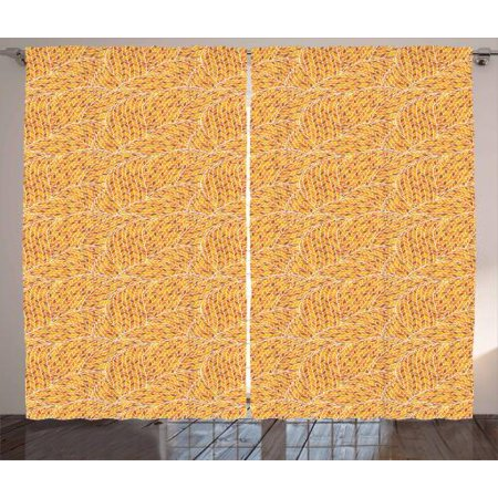 Earth Tones Curtains 2 Panels Set, Autumn Season Colors Digital Leaves Forming Dimensional Spirals, Window Drapes for Living Room Bedroom, 108W X 108L Inches, Apricot Rust Earth Yellow, by -