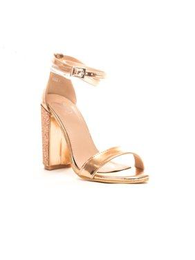 18680b98578a84 Product Image Women s Embellished Metallic Block Ankle Strap Heel. Soho  Shoes
